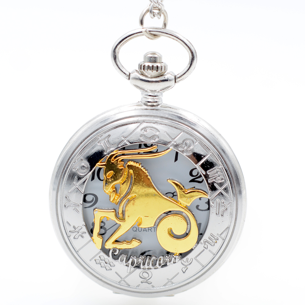 Mens pocket watches with chain images mens gold pocket watches gifts - Twelve Constellations Capricorn Golden Silver Quartz Pocket Watch Pendant Necklace Mens Womens Watch Chain Boys Girls
