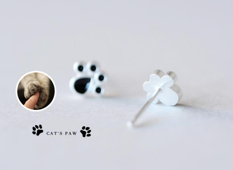 Careful Hot Trendy Cute Cat Paw Earrings For Women Fashiong Silver Earring Pink Claw Print Bear And Dog Paw Stud Earrings Dropshipping Always Buy Good