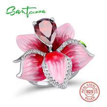 Серебряный цветок Кольца для Для женщин большой розовый цветок эмаль кольцо красный гранат, кубический Ziconia стерлингового серебра 925 женский кольцо ручной работы