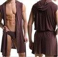 Sem mangas dos homens de seda com capa ultra - fino, Roupão de banho