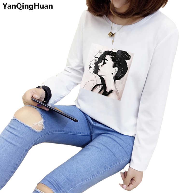 Yan Qing Huan 2018 Baru Mode Musim Panas Kartun Cetak Harajuku Kaus Wanita Kasual Longgar Lengan Panjang Korea Musim Semi terbaik Kaus