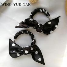 Fashion Bohemian Hoop Earrings Women Handmade Silk Fabric Hyperbole Black Bow Knot Korean Jewelry