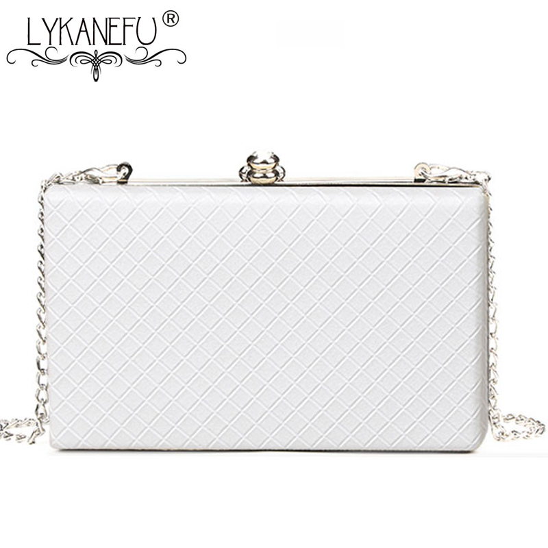 LYKANEFU Evening Bag Box Clutch Purse Women Bag With Chain Day Clutches Ladies Wedding Hand Bag Hasp Lock Shoulder Bag Small/Big(China)