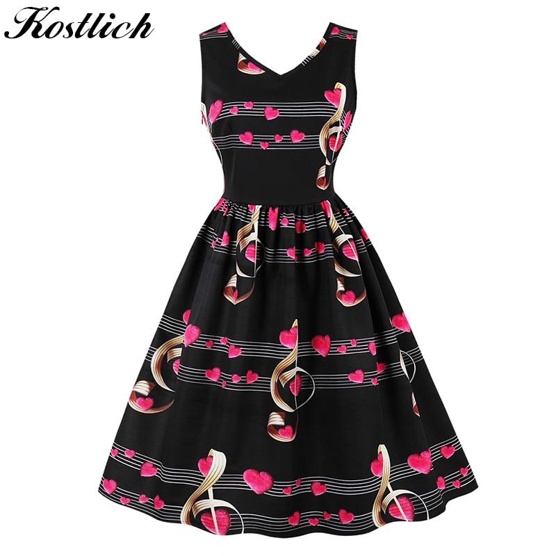 Kostlich Musical Note Print Women Summer Dress 2018 V-Neck Sleeveless Hepburn 50s Vintage Dress Elegant Party Dresses Plus Size