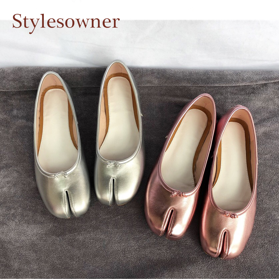 Stylesowner purple style mirror leather split toe flat shoes for women genuine leather slip on shallow runway casual shoes mujer sweet women high quality bowtie pointed toe flock flat shoes women casual summer ladies slip on casual zapatos mujer bt123