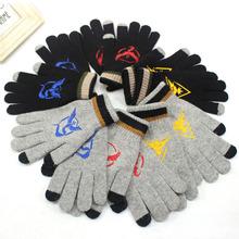 Cartoon Anime pokemon go Stretch dzianiny zimowe ciepłe rękawiczki wełna do haftu Knitting ekran dotykowy taktyczne rękawiczki dla mężczyzn kobiety tanie tanio ST017 Unisex Moda WHOSONG Pościel Nadgarstek Chiny (kontynentalne) Dla dorosłych