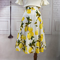 Женская Настроить Лимон Цветочный Печати хлопок юбки Дамы Повседневная Высокая Талия Линия Ретро зонтик юбка
