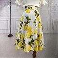 Womens Personalizar Limón faldas Ladies Casual Cintura Alta Una Línea de algodón Estampado de Flores Retro falda paraguas
