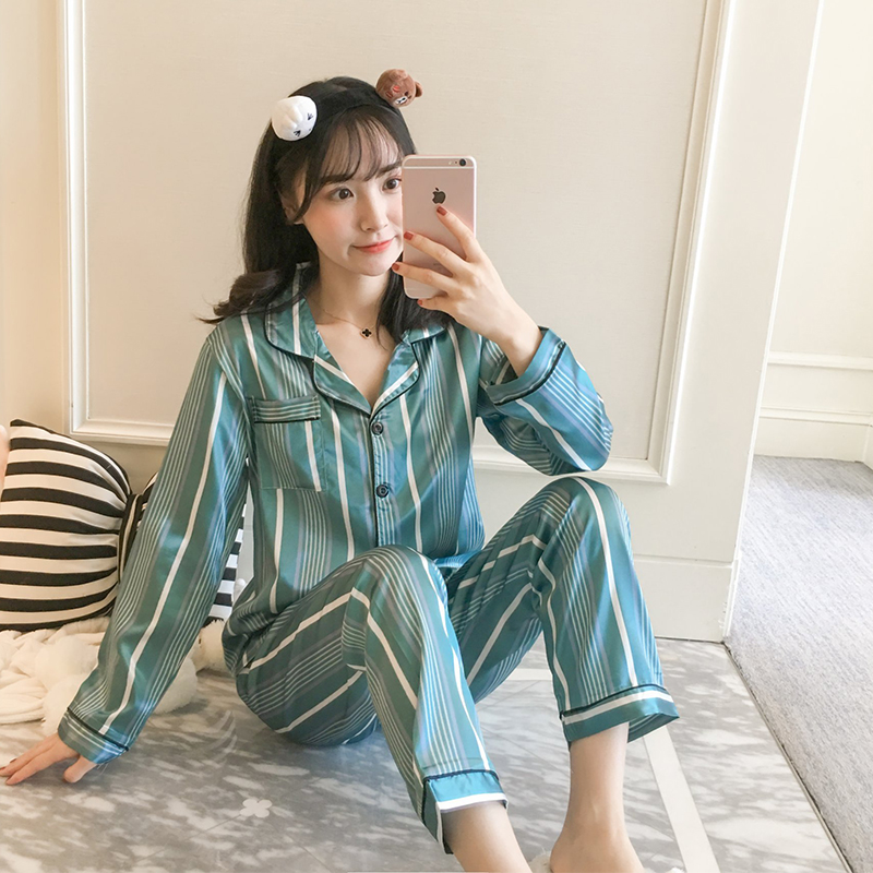 2019 Spring Summer   Pajamas   Silk Print Sweet Women Sleepwear   Set   Girl Nightgown Long Pant Cute Silk   Pajamas     Sets