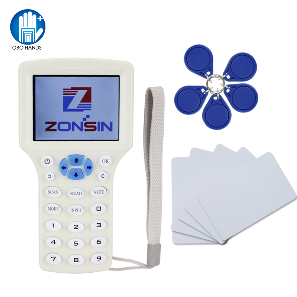 Anglais Rfid NFC Copieur Lecteur duplicateur 10 Fréquence Programmeur avec écran couleur + 5 pcs T5577 em4305 cartes + 5 Pcs UID clé