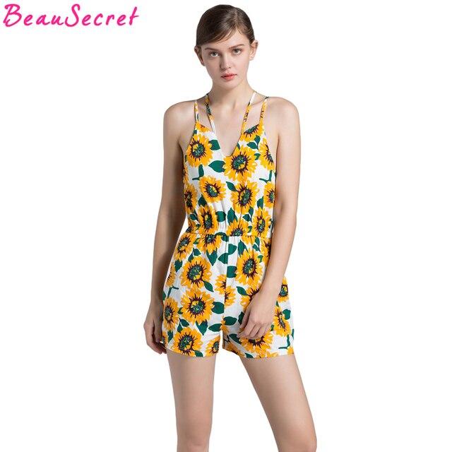 1772d5a42da Summer Jumpsuits Rompers Sunflower Strap Elegant Jumpsuit Women Floral  Playsuits Sexy Short Overalls