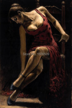 special offer - good -TOP best art oil painting--hand painted -red dancer  tango 36 inches-free shipping cost