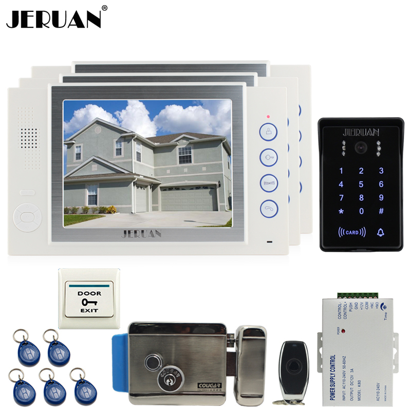 JERUAN 8`` video doorphone Record intercom system kit 3 monitor brand New RFID waterproof Touch Key password keypad Camera 8G SD rfid keyboard ip65 waterproof video doorphone intercom system for 3 apartments with 7 color lcd video intercom system in stock
