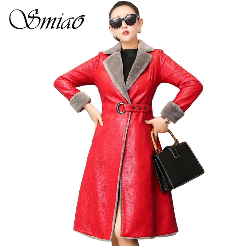 Fashion 2018 Women Winter Leather Jacket Slim Fur Coats Long Hooded Autumn Trench Coat Plus Size