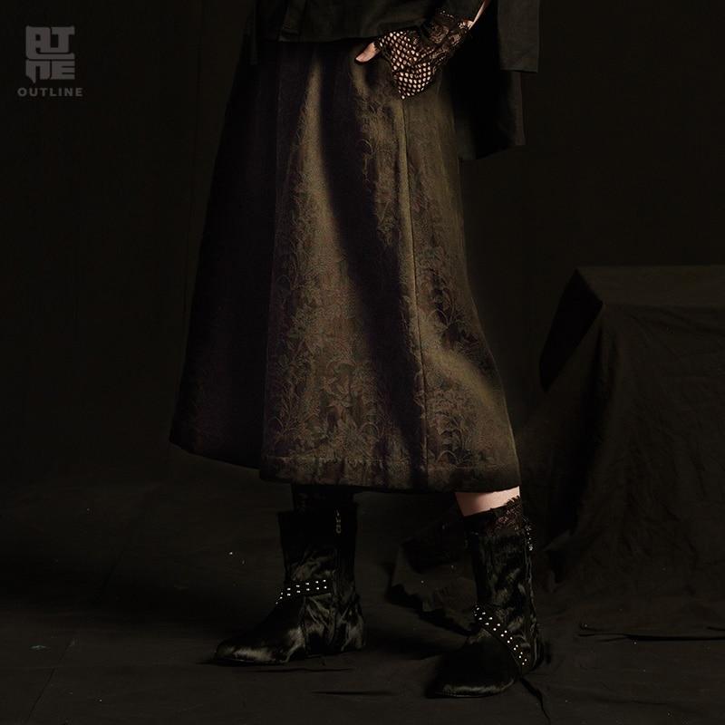 Outline Women Autumn Black Casual Trousers Pockets Elastic Waist Pleated Solid Loose Calf Length Plus   Wide     Leg     Pants   L183K003