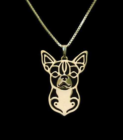 Vàng bạc & 1 CÁI bán buôn cartoon Boho Chic Hợp Kim Chihuahua vòng cổ Chihuahua con chó mặt dây chuyền jewelry Silver gold colors plated