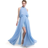 YSMILE Y Summer Women Sleeveless Dress Solid Color Ruffles Off The Shoulder Halter Neck Ladies A
