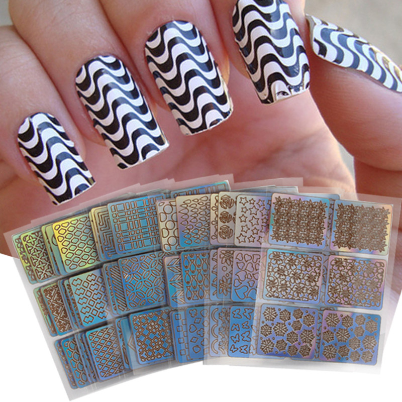 24pcs/lot High Quality Lacer Stencils Nail Stickers Template Nail Art Decoration Sticker Hollow Vinyles Sticker For Nail Tip DIY any hollow out nail template stickers laser star wheel triangle pattern nail sticker designs nail art