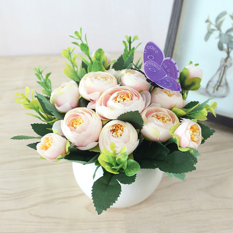 JAROWN Artificial Flowers Rose Quality Ceramics Vase +Silk Flowers Artificial Flower Set Home Decoration Home Flowers Decoration 2)