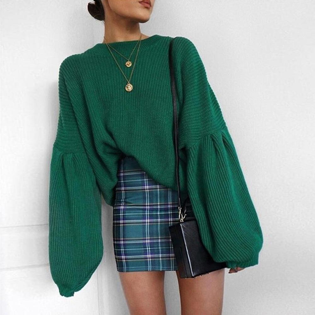 dc7be4e497e YJSFG HOUSE Womens Autumn Sweaters Long Lantern Sleeve Baggy Ladies ...
