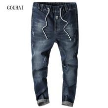 Jeans Men 2017 Autumn Winter Fashion Ripped Jeans For Men Biker Jeans Solid Elasticity Brand Slim Fit Denim Pants Plus Size