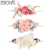 цены Newborn Flower Headband For Girls Rhinestone Crown Hair bands Artificial flowers Photography Props Kids Hair Accessories