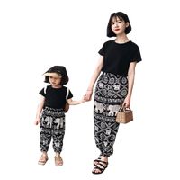 Mommy and daughter clothes 2019 matching outfits mother daughter dresses t shirt loose plants cotton sister shirts girls clothes