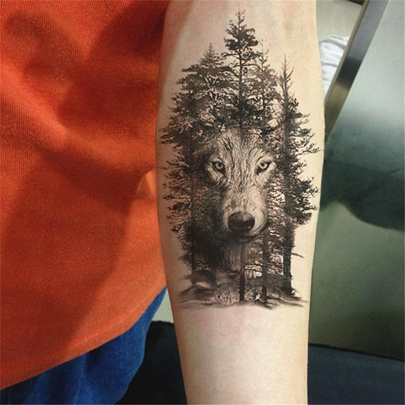 1Pc Waterproof Temporary Tattoo Sticker Chest Wolf Forest Stickers Flash Fake Tattoos For Women Men Body Arm Animal Dog Head