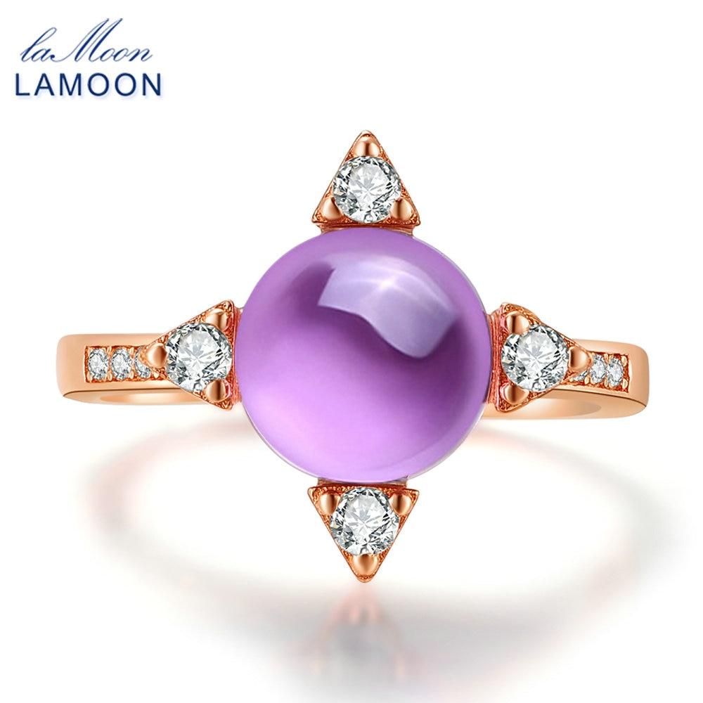 LAMOON 2.1ct Luxus Sterne Ringe für Frauen Natürliche Lila Amethyst - Edlen Schmuck - Foto 1