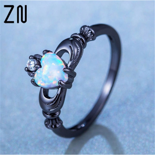 Elegant Heart Cut Rainbow Opal Ring Fashion White CZ Wedding Jewelry Black Gold