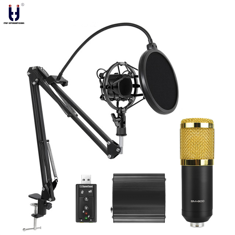 Ituf Professional Condenser Microphone for computer bm 800 Audio Studio Vocal Recording Mic KTV Karaoke + Metal Microphone stand 1 3 1 4 bjd doll wigs high temperature wire long wavy hair for dolls new design synthetic doll hair accessories for dolls