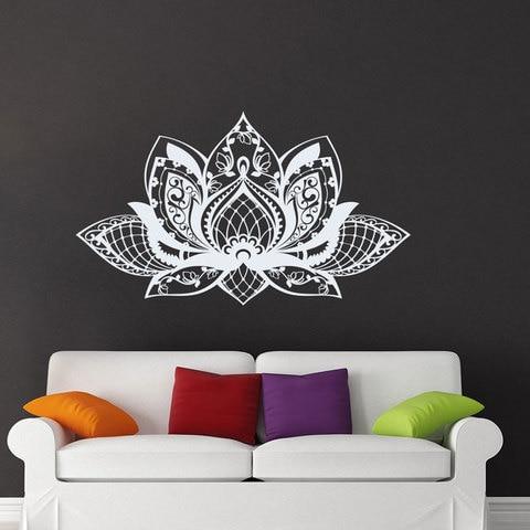 Adesivos de Parede Decor para Sala Lotous Mandala Flor Yoga Estúdio Vinil Home Quarto Decalques Removível Mural Bohemian Mt01