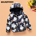 2016 Winter Children Kids Down Jacket Boys Girls Winter Coat Outerwear Fashion Character Hooded Warm White Duck Down Jackets
