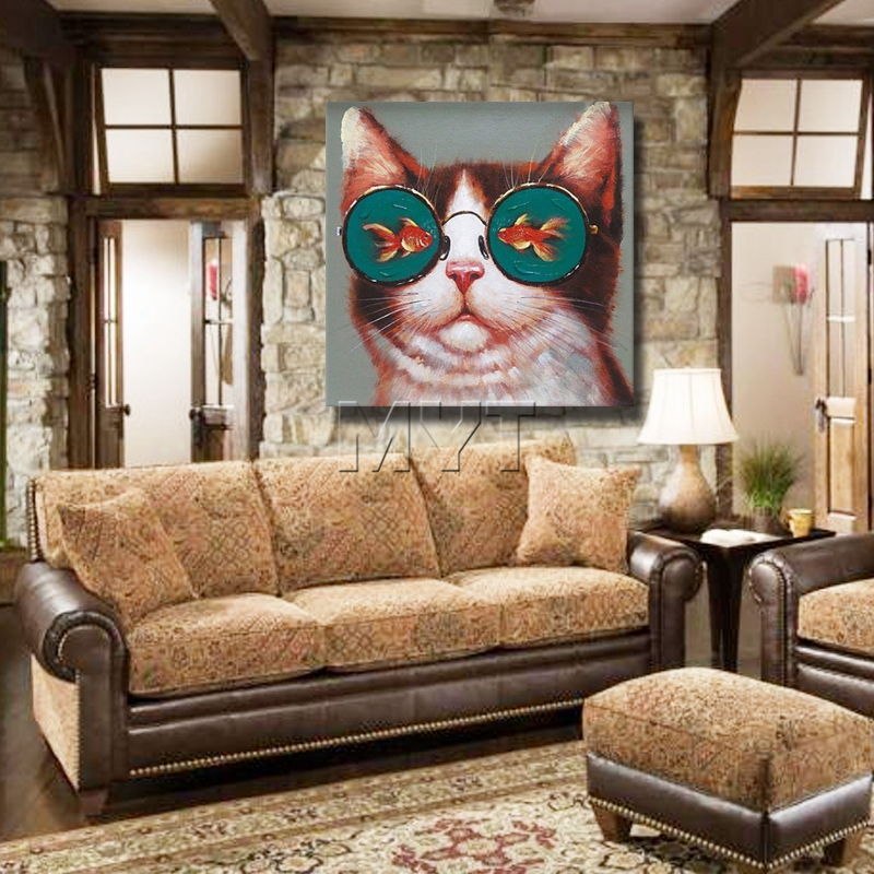 The Cat With Fish Glasses Painting Living Room Decor Modern Canvas ...