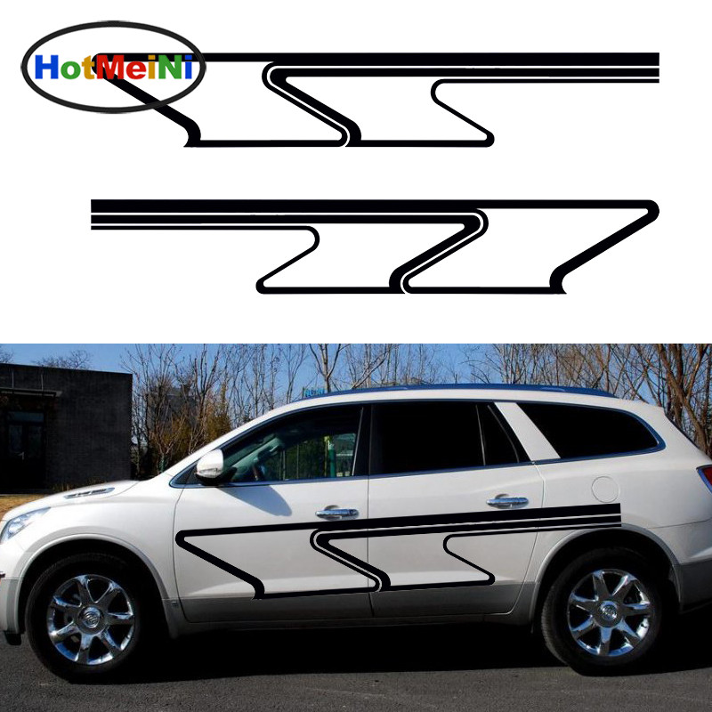 HotMeiNi 2 X Twisted Stripes Fluttering Banner Abstract Art Car Stickers for For Camper Trailer Truck Canoe Vinyl Decal 10 Color