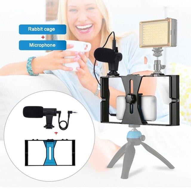 ECos Video Rig LED Studio Ánh Sáng Video Microphone Mini Tripod Núi Bộ Dụng Cụ Với Lạnh Giày Đầu Chân Máy Cho Điện Thoại Thông Minh #292281