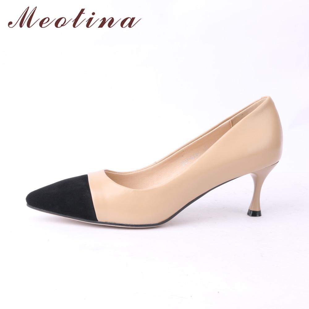Meotina ของแท้หนังผู้หญิงปั๊มรองเท้าส้นสูงสำนักงาน Lady รองเท้า Pointed Toe Kitten ส้นรองเท้า 2018 รองเท้าใหม่ขนาดใหญ่ขนาด 40-ใน รองเท้าส้นสูงสตรี จาก รองเท้า บน   3