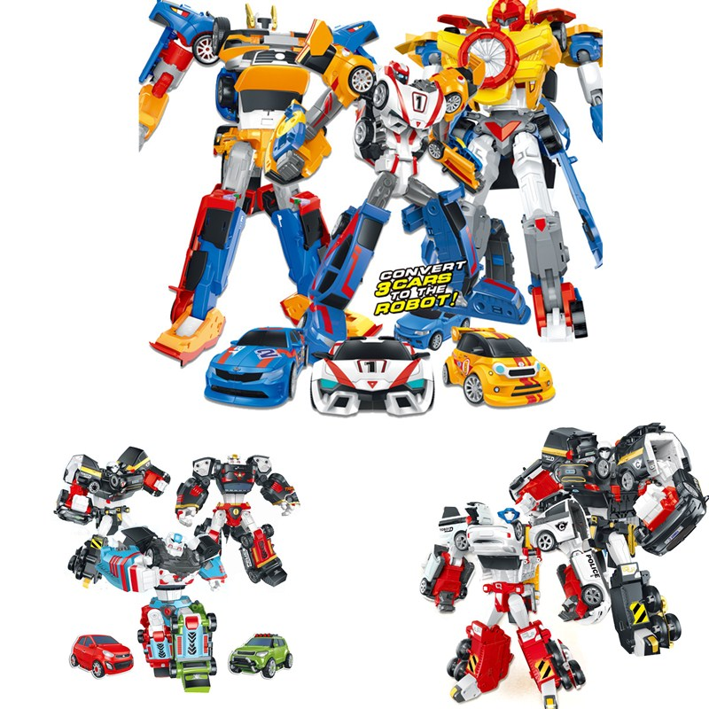 Lensple Tobot 3/2 In 1 Transformation Cars Robot Action Figure Toys Cartoon Character 3 Cars Merge Deformation Robot Model Toys