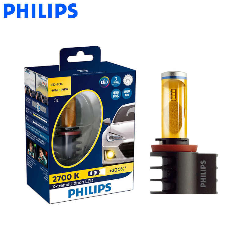 Philips LED H8 H11 H16 2700K Golden Yellow X-treme Ultinon LED All Weather Light Fog Auto Lamp +200% Brighter 12793UNI X2, Pair