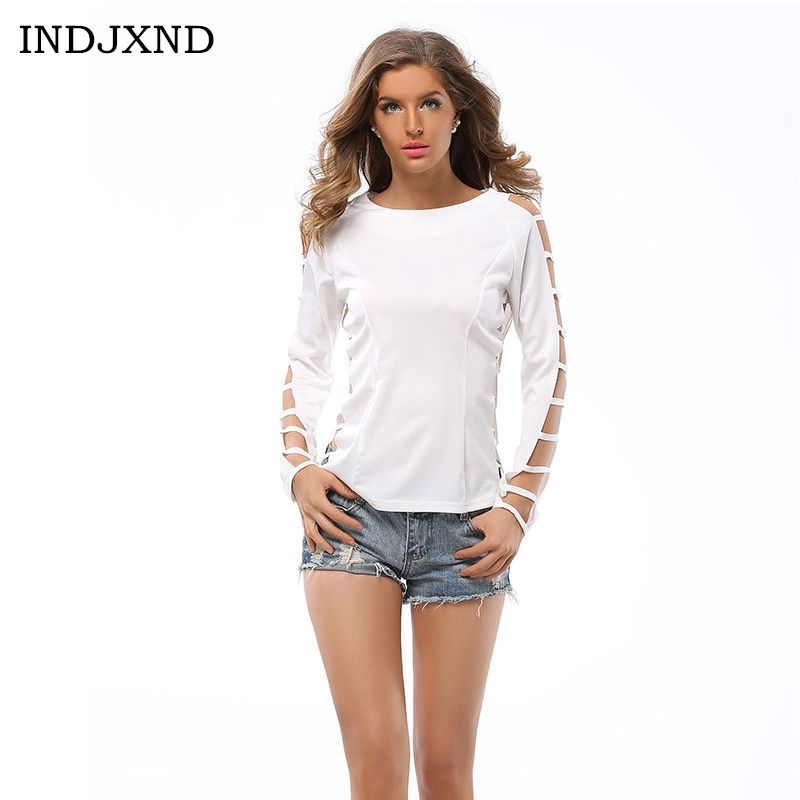 INDJXND fashion 2017 Women blouses Solid Color Shirt Grid Hole Long Sleeve O Neck White blusas Night Clubwear Clothes Women Tops