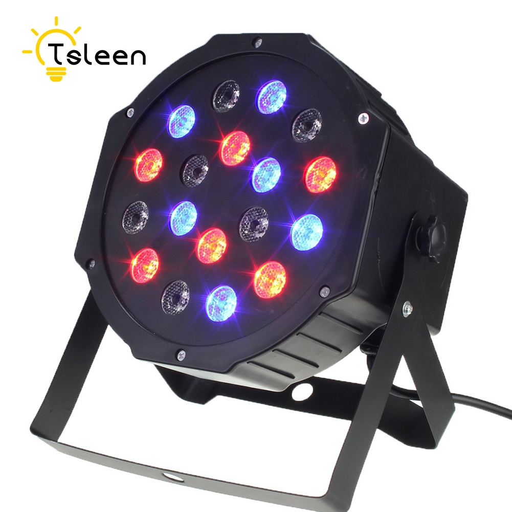 disco light 18W LED Stage light 18 RGB Par projector With DMX512 Master Slave Laser DJ Equipments luzes par festa 110V-220V ac100 240v 18 1w led stage light high power rgb par light dmx master slave led flat dj equipments luzes para festa disco lamp