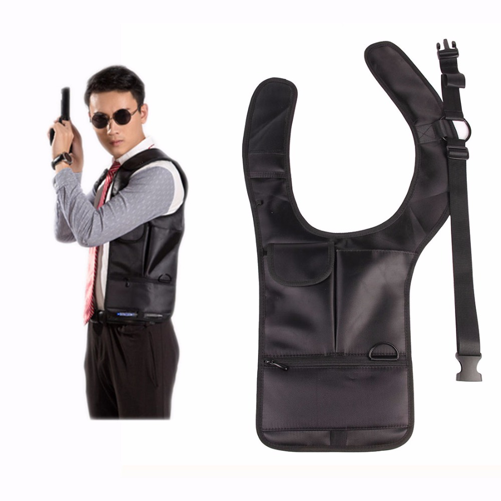 Men's Accessories 2016 Leather Anti-theft Hidden Underarm Holster Style Shoulder Wallet Phone Black Wallet Holder Packing Of Nominated Brand