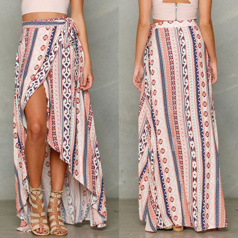 Ladies Fashion Casual Loose Skirt Print Women Boho Long Chiffon Skirt Beach Cover Up Split Skirt Asymmetrical Summer Fashion
