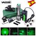 10000 루멘 led 사냥 손전등 전술 녹색 총 빛 + 원격 압력 스위치 + 18650 배터리 + 소총 범위 마운트 + 충전기 + 케이스