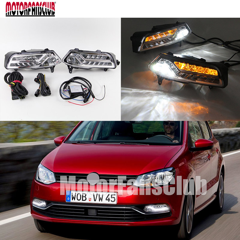 200lm~300lm 6000K~6700K LED Daytime Running Light With Yellow Turn Signal Light For VW Polo 2014 2015 Fog Lamp 17-LED DRL nokia 6700 classic illuvial