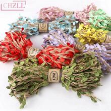 CHZLL 5M & 10M simulación natural hojas verdes tejidas yute arpillera rústica decoración de la boda Vintage accesorios de boda yute cuerda