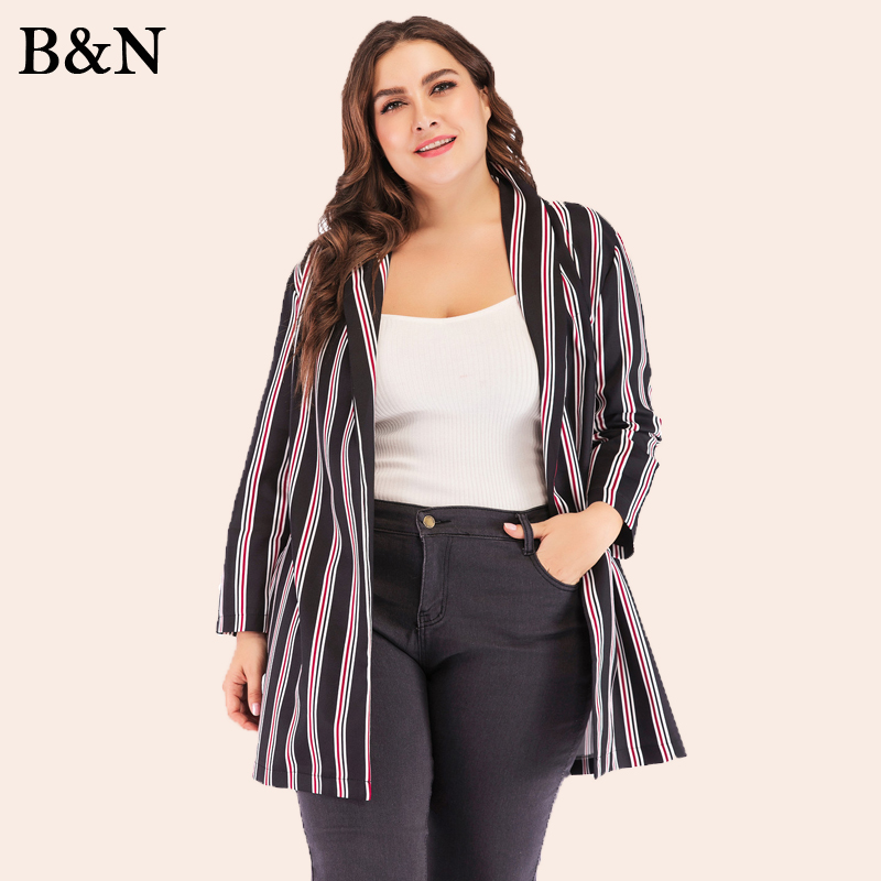 XL-5XL Women's Jacket Coat Blazers Long Vadim 2019 Tops Casual Cardigan Outerwear Maxi Female Jacket Large Size Vertical Stripe