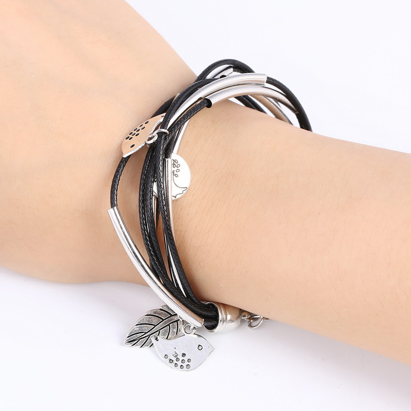 Silver Charm Leaves Multilayer Bracelets for Womens