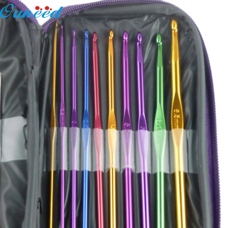 Ouneed Happy Home 22pcs Multicolour Aluminum Crochet Hook Knitting Needle Set Weave Craft Yarn ouneed happy home 22pcs multicolour aluminum crochet hook knitting needle set weave craft yarn