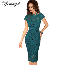Vfemage Womens Elegant Sexy Crochet Hollow Out Pinup Party Evening Special Occasion Sheath Fitted Vestidos Dress 4272(China)